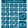 Birthday Icons, Chalk Drawing Style — Stock Vector