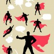 Male Superhero Silhouettes — Stock Vector