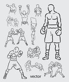 Boxing Sketches — Stock Vector