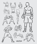 Bocetos de boxeo — Vector de stock