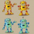 Vector de stock : Welcome and Angry Cartoon Robot Character