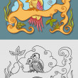 Two birds ornament decorations — Vettoriali Stock