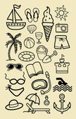 Summer Beach Doodle Icons — Stock Vector