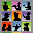 Stock Vector: Profession Avatar Silhouettes