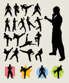 Karateka Kick Silhouettes. Martial Art Series — Stock Vector