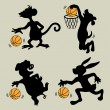 Animal Playing Basketball Silhouettes — Stock vektor