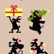 Christmas Animal Activity Silhouettes — Stock Vector