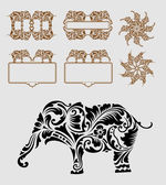 Elephant Floral Ornament Decoration — Stock Vector