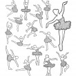 Female dancer black and white icons sketch — Stock Vector