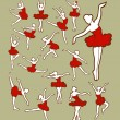 Female dancer icons sketch with color — Stock Vector