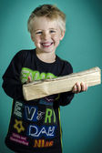 Nipper with wood billet — Stock Photo