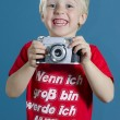 Funny boy with camera — Stock Photo