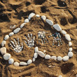 Royalty-Free Stock Photo: Heart made with pebbles on the beach