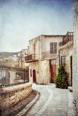 Street in Cyprus. Old style image. — Stock Photo