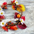 Autumn floral wreath on rustic wooden background — Stock Photo #36422649