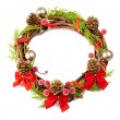 Christmas wreath with red ribbon,pine cones and golden decorati — Stock Photo #36424429
