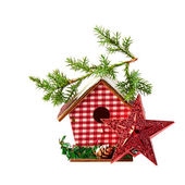 Christmas Decoration (star,birdhouse, a branch of spruce) isolat — Stock Photo