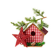 Christmas Decoration (star,birdhouse, a branch of spruce) isola — Stock Photo