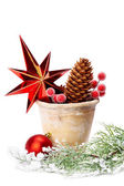 Christmas decoration (stars,pine cone, baubles, old pot) isolat — Stock Photo