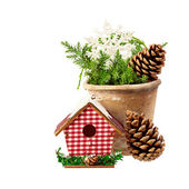 Christmas Decoration (cone,birdhouse, pot, a branch of spruce) i — Stock Photo