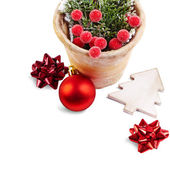 Christmas Decoration (bows, baubles, old pot) isolated on a whi — Stock Photo