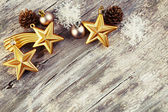 Christmas decoration over wooden background. Vintage style. — Stock Photo
