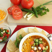 Hot Spicy Chili with Fresh Veggies — Stock Photo