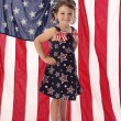 Little American Girl with Flag - Stock Photo