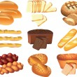 Bakery breads photo-realistic set — Stock Vector