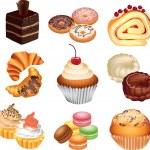 Cakes photo-realistic set — Stock Vector