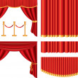 Red theater curtains photo-realistic set — Stock Vector
