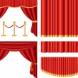 Stock Vector: Red theater curtains photo-realistic set