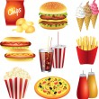 Stock Vector: Fast food meals photo-realistic set