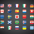 Most popular countries flags icons — Stock vektor