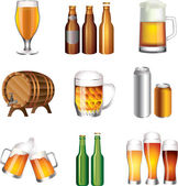 Beer photo-realistic set — Stock Vector
