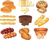 Bakery breads photo-realistic set — Stock Vector