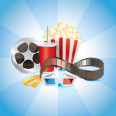 Cinematograph, film, popcorn, cola, and 3D glasses photo-realistic — Stock Vector