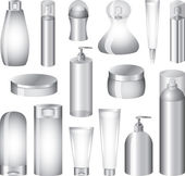 Cosmetics bottles and packing photo-realistic set — Stock Vector