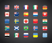 Most popular countries flags icons — Stock Vector