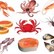 Seafood photo-realistic set — Imagen vectorial