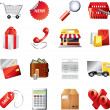 Shopping icons detailed set  — Stock Vector