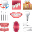 Tooth healthcare and stomatology photo-realistic set — Stock Vector