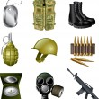 Army and military icons detailed set — Image vectorielle