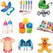 Baby toys and things detailed icons set — Stock Vector