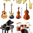 Stock Vector: Musical instruments photo-pealistic set
