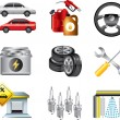 Stock Vector: Car service and filling station icons detailed set