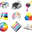 printing and cmyk colors icons — Stock Vector