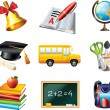 School icons detailed set — Stock Vector