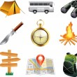 Stock Vector: Tourism and camping icons detailed set