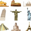 World famous monuments icons detailed set — Stock Vector #26085413